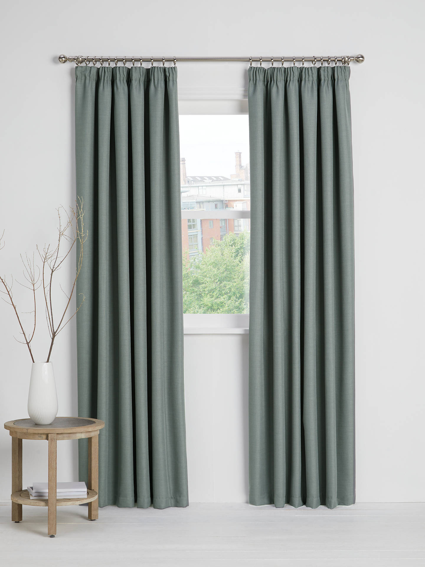 Buy John Lewis & Partners Barathea Pair Blackout Lined Pencil Pleat Curtains, Mid Grey, W117 x Drop 137cm Online at johnlewis.com