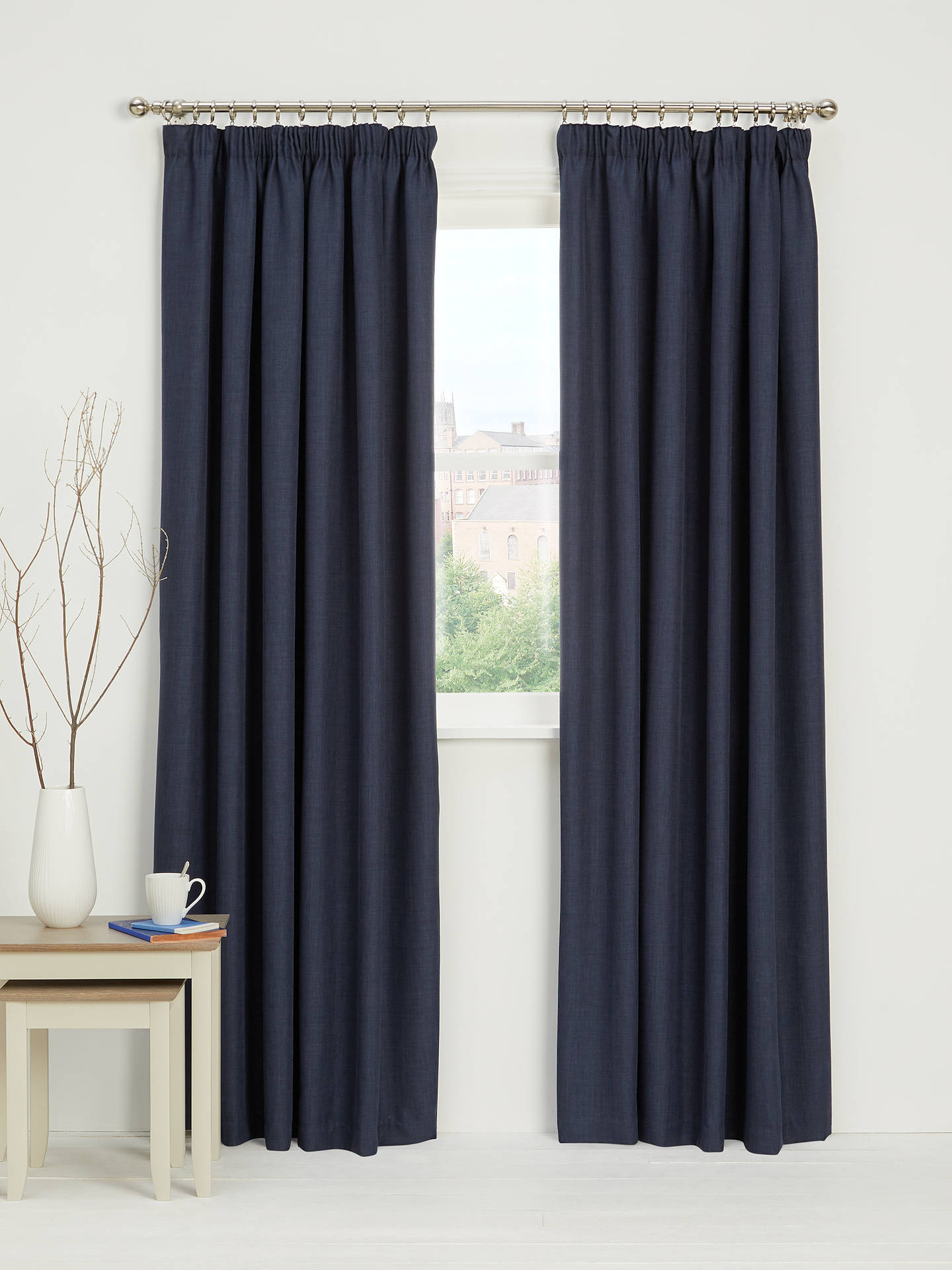 Buy John Lewis & Partners Barathea Pair Blackout Lined Pencil Pleat Curtains, Navy, W167 x Drop 182cm Online at johnlewis.com