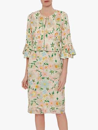 Gina Bacconi Merida Floral Embroidered Bolero, Beige/Multi