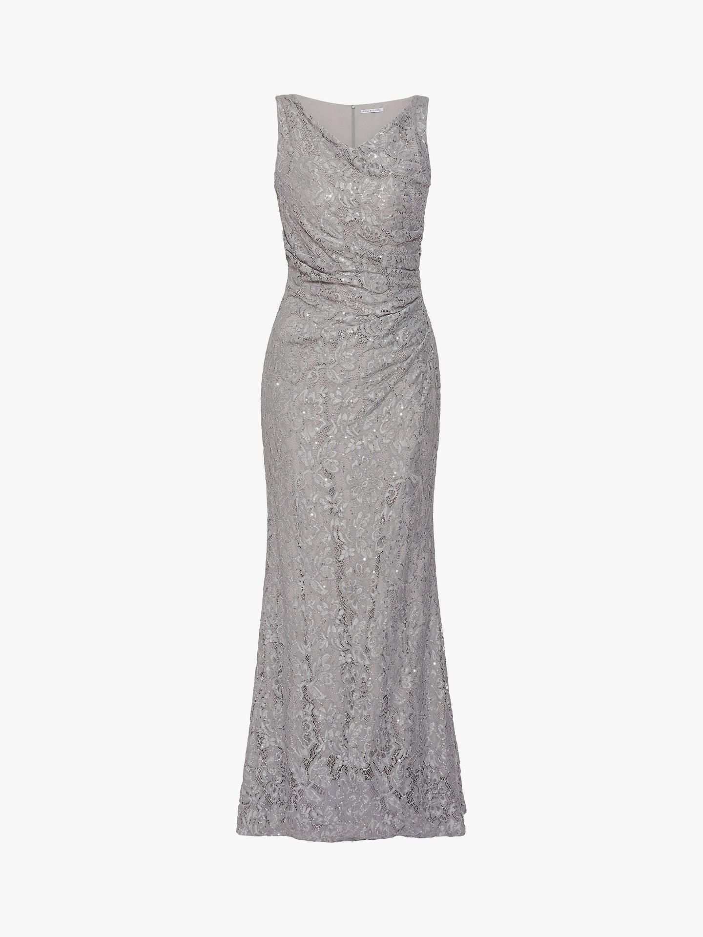 c14066a0e8a9e Gina Bacconi Harlene Sequin Lace Maxi Dress, Grey
