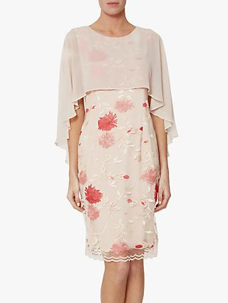Gina Bacconi Etta Embroidered Dress with Cape, Pink/Red