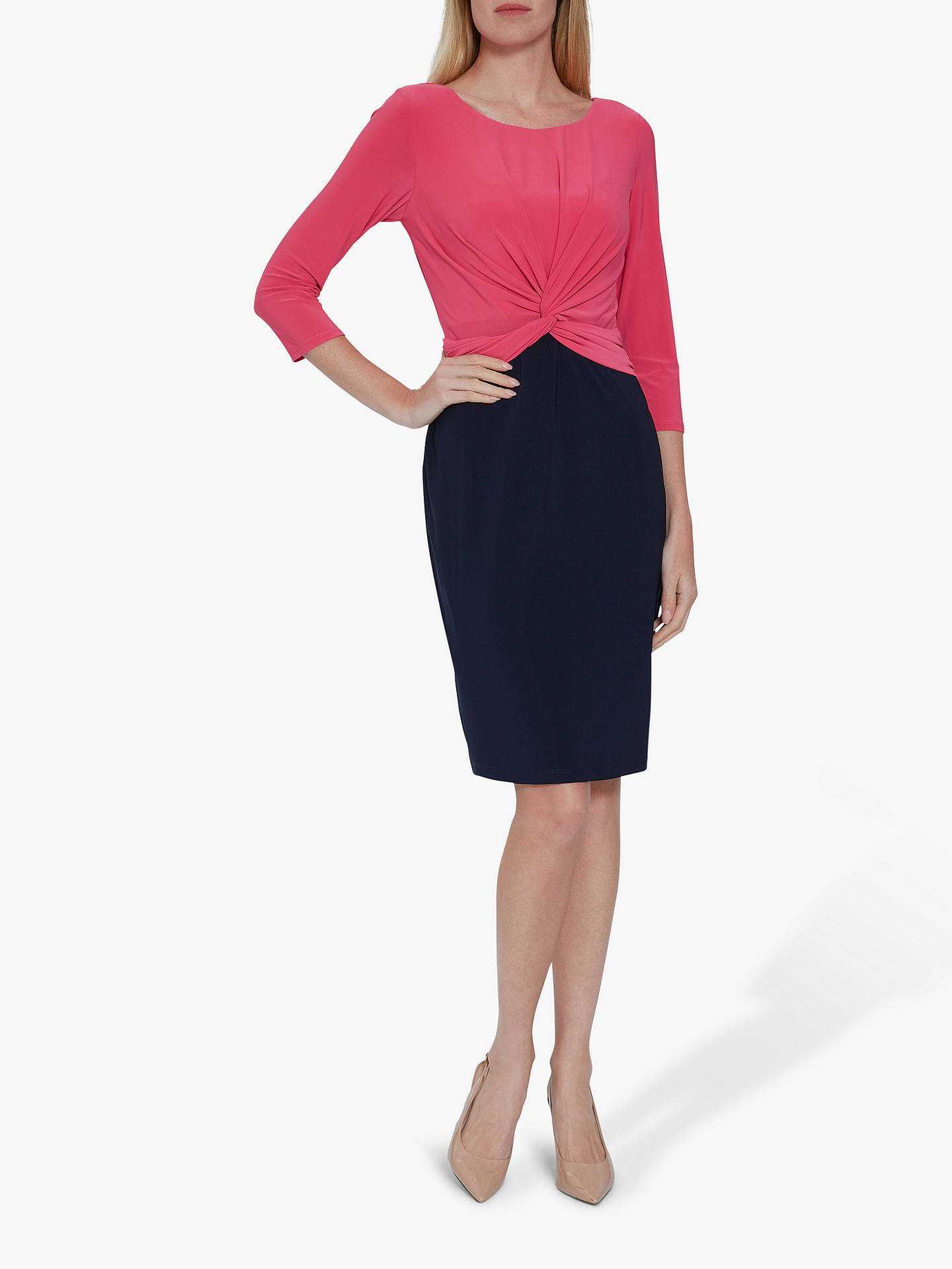Buy Gina Bacconi Lorissa Jersey Dress, Navy/Fuchsia, 10 Online at johnlewis.com