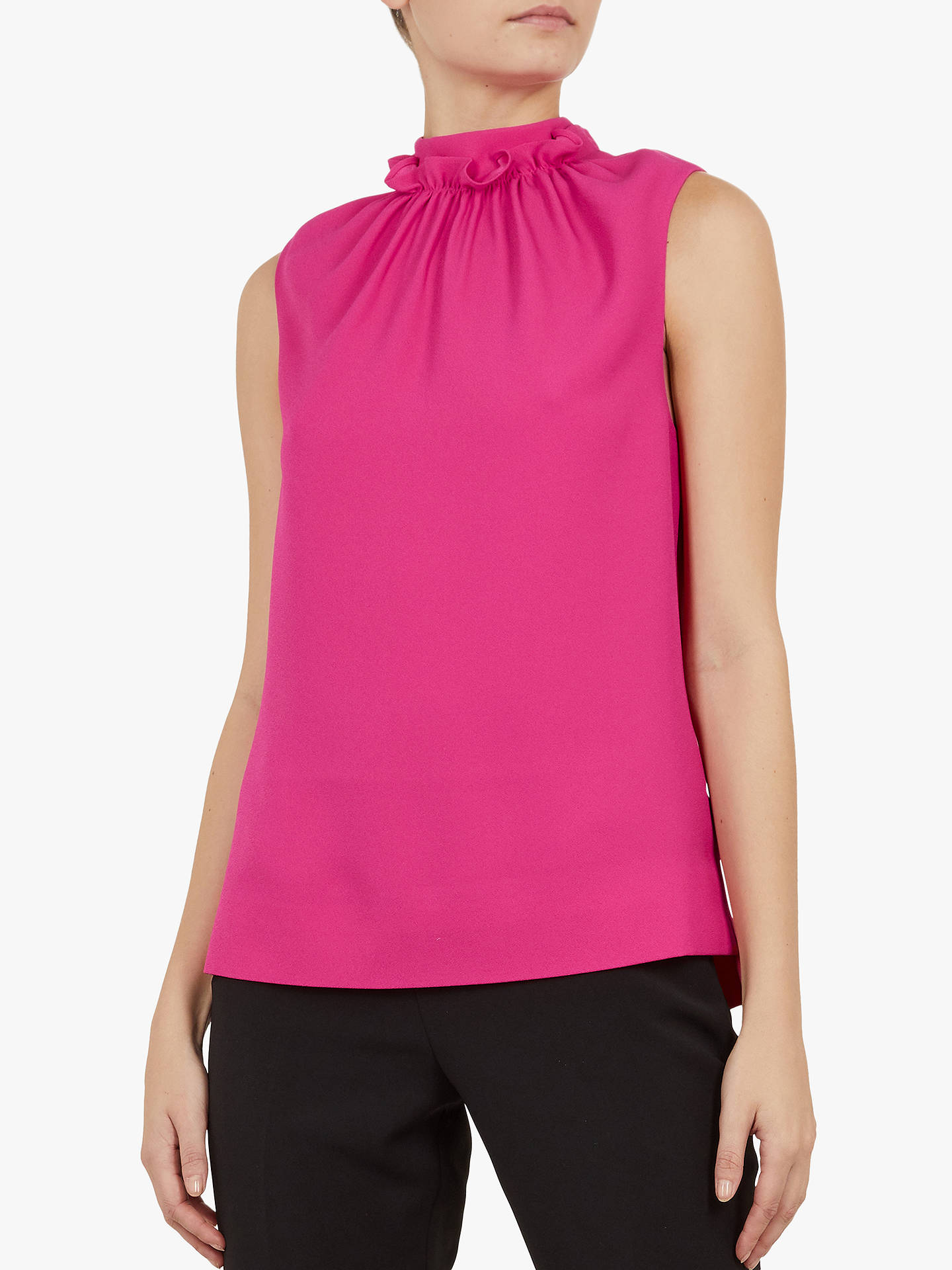 36cac51a8 Buy Ted Baker Audrye Ruffle Neck Sleeveless Top, Pink Mid, XL Online at  johnlewis ...