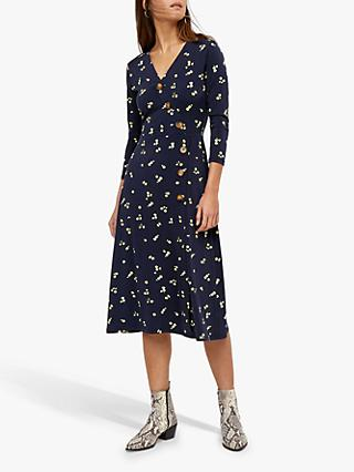 Warehouse Ditsy Button Midi Dress, Blue Pattern