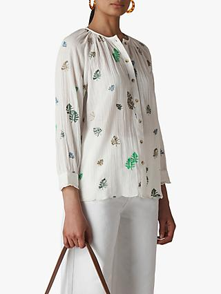Whistles Cheeseplant Floral Embroidered Shirt, White/Multi