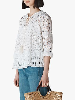 Whistles Maggie Broderie Blouse, White