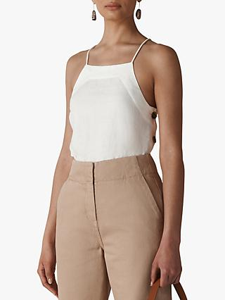 Whistles Becky Linen Cami Top, White