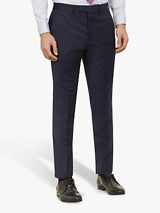 Ted Baker York Wool Check Tailored Suit Trousers, Navy