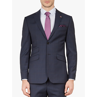 Ted Baker York Wool Check Tailored Suit Jacket, Navy