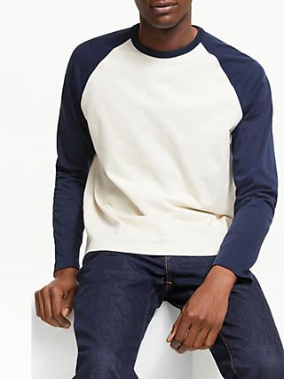 John Lewis & Partners Long Sleeve Baseball T-Shirt, Navy
