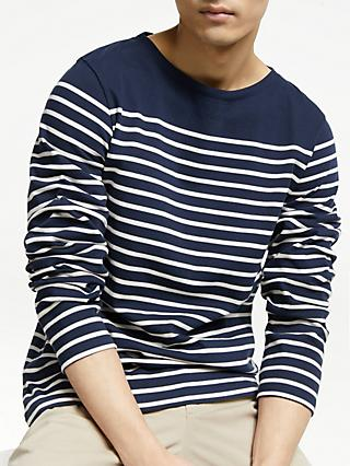 John Lewis & Partners Cotton Long Sleeve Breton Stripe T-Shirt