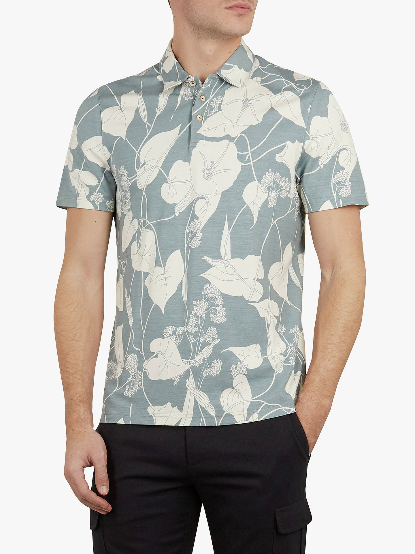 26f35e080 Buy Ted Baker Willow Floral Print Polo Shirt, Light Blue, S Online at  johnlewis ...