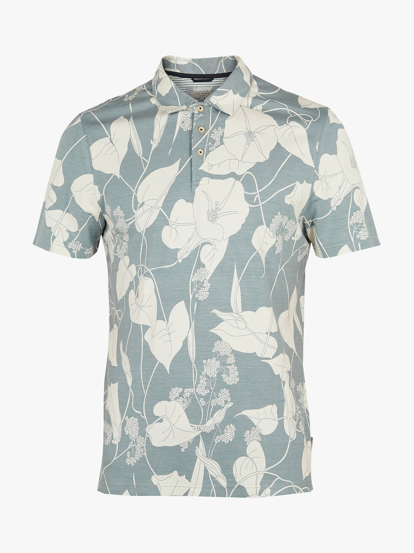 daf1f3179 ... Buy Ted Baker Willow Floral Print Polo Shirt, Light Blue, S Online at  johnlewis