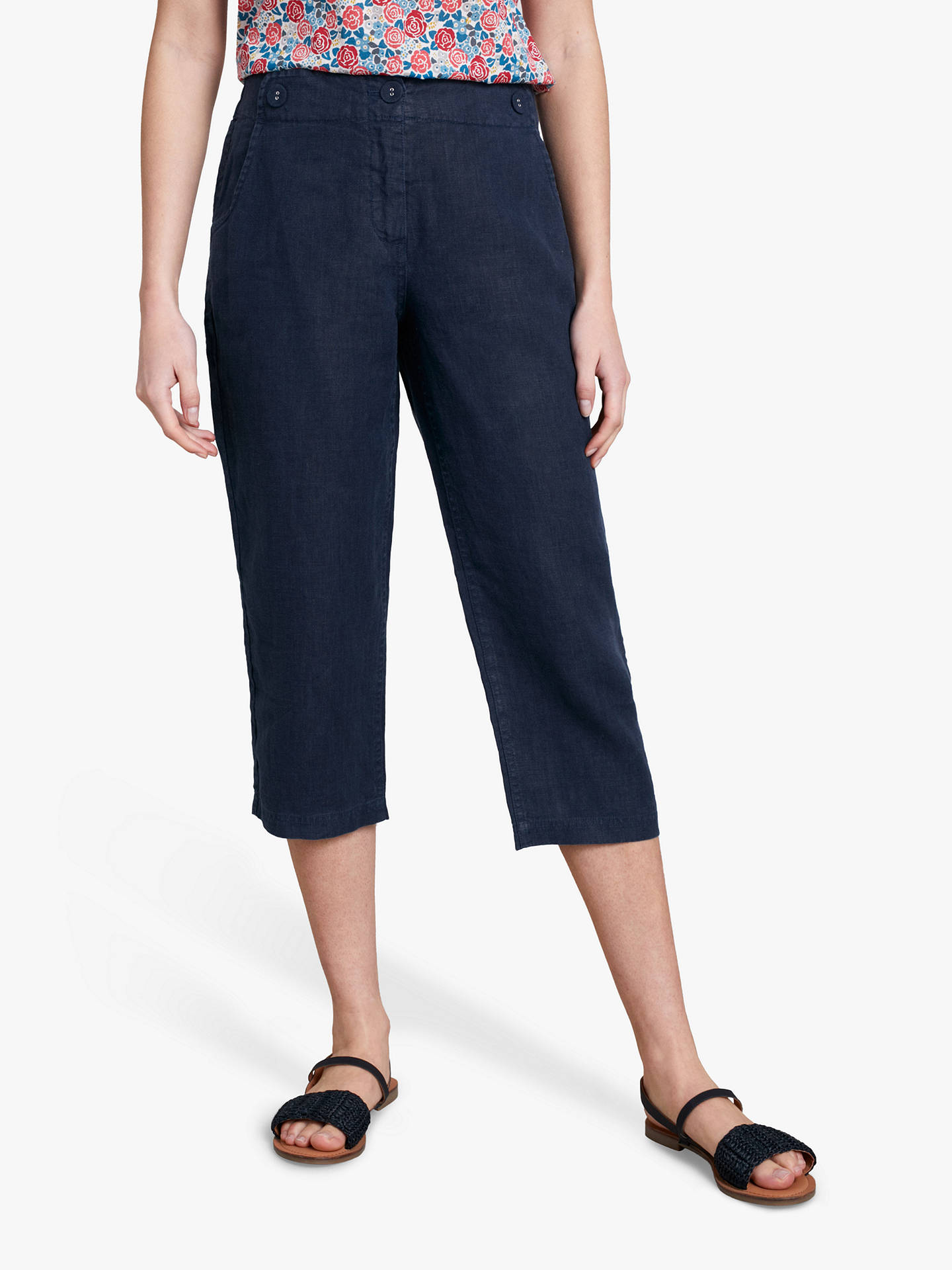 Buy Seasalt Brawn Point Cropped Trousers, Blue, 12 Online at johnlewis.com