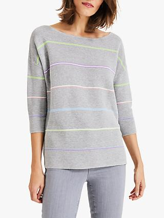 Phase Eight Piera Rainbow Knitted Jumper, Grey