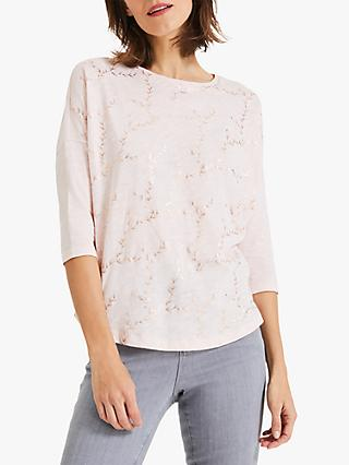 Phase Eight Fliss Foil Top, Pale Pink