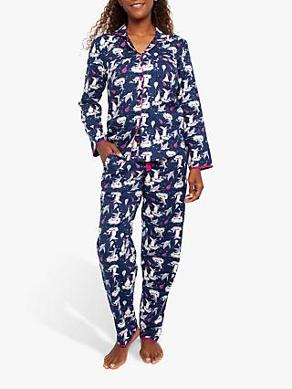 Cyberjammies Penguin Print Pyjama Set, Navy