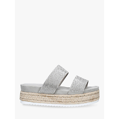 Carvela Belize Embellished Slip-On Flat Sandals, Grey