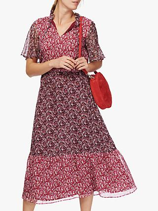 Brora Liberty Silk Chiffon Patchwork Dress, Crimson Blossom