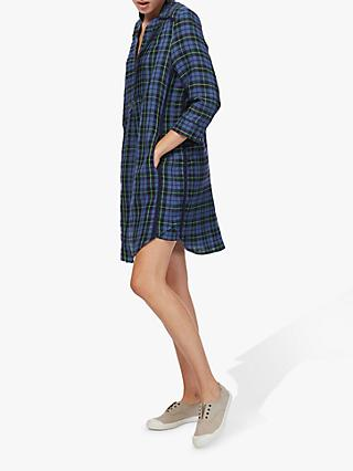 Brora Plaid Check Shirt Dress, Chambray/Fennel