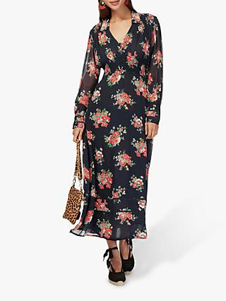 Brora Floral Silk Chiffon Smock Maxi Dress, Black/Multi
