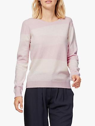 Brora Diagonal Stripe Cashmere Jumper, Tea Rose/White