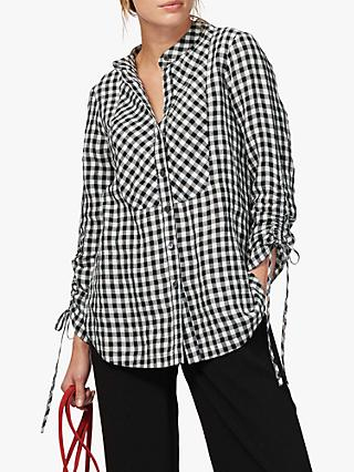 Brora Gingham Linen Tunic Top, Monochrome