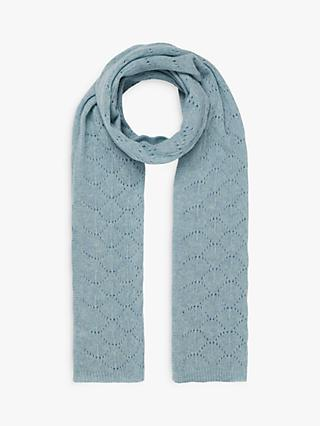 Brora Cashmere Pointelle Scarf, Cloud