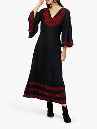 Brora Embroidered Kaftan Maxi Dress, Black/Red