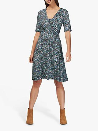 Brora Liberty Jersey Wrap Dress, Violet Daisy