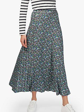 2813d3105 Brora Liberty Jersey Flared Maxi Skirt, Violet Daisy