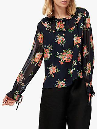 b1b30087297711 Brora Floral Silk Chiffon Ruffle Sleeve Blouse