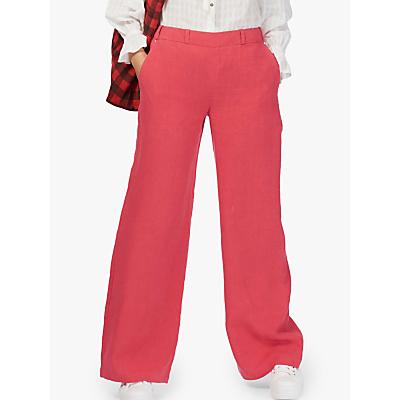 Brora Wide Leg Linen Trousers, Crimson
