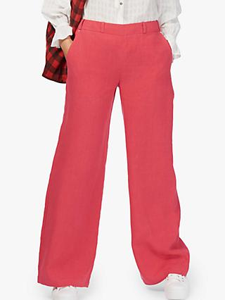 Brora Wide Leg Linen Trousers, Crimson