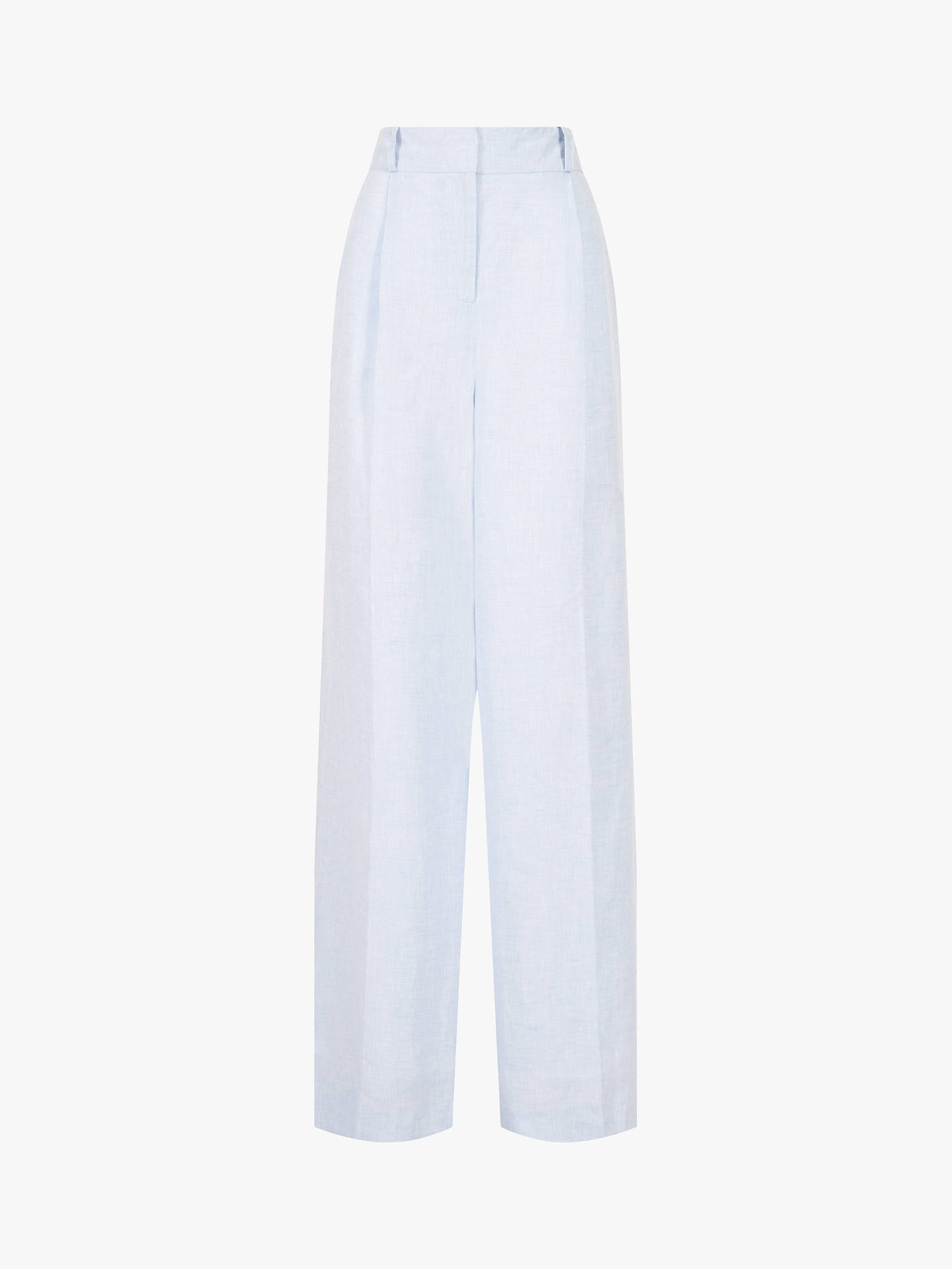 Buy Jaeger Tailored Wide Leg Linen Suit Trousers, Blue Mid, 10 Online at johnlewis.com