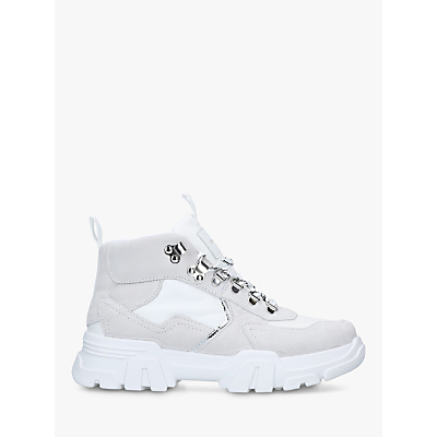 Carvela Loopy High Top Trainers, White Suede
