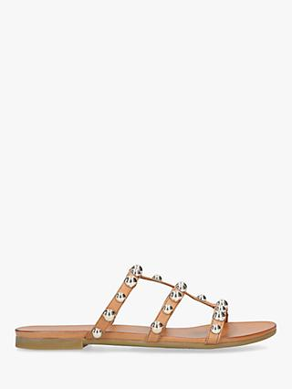 Carvela Kaddie Leather Embellished Slip On Flat Sandals