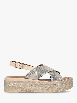 Carvela Comfort Leather Snake Print Flatform Sandals, Gold