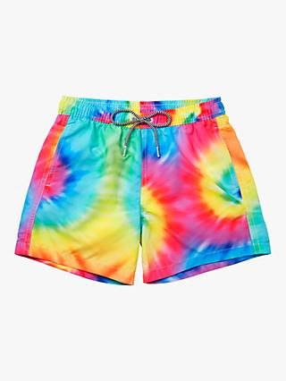 Boardies Spiral Tie Dye Print Swim Shorts, Multi