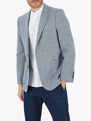 Jaeger Linen Cotton Check Blazer, Mid Blue