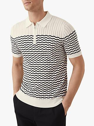Reiss McAndrew Short Sleeve Half Zip Polo Shirt, Ecru