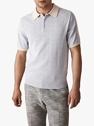 Reiss Newton Textured Short Sleeve Polo Shirt