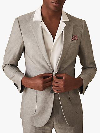 pretty nice 08cd7 5d849 Reiss Time Cotton Linen Slim Fit Suit Jacket, Light Grey