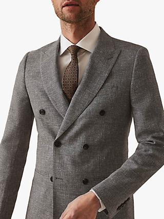 Reiss Wander Ruck Linen Blend Textured Suit Jacket, Grey