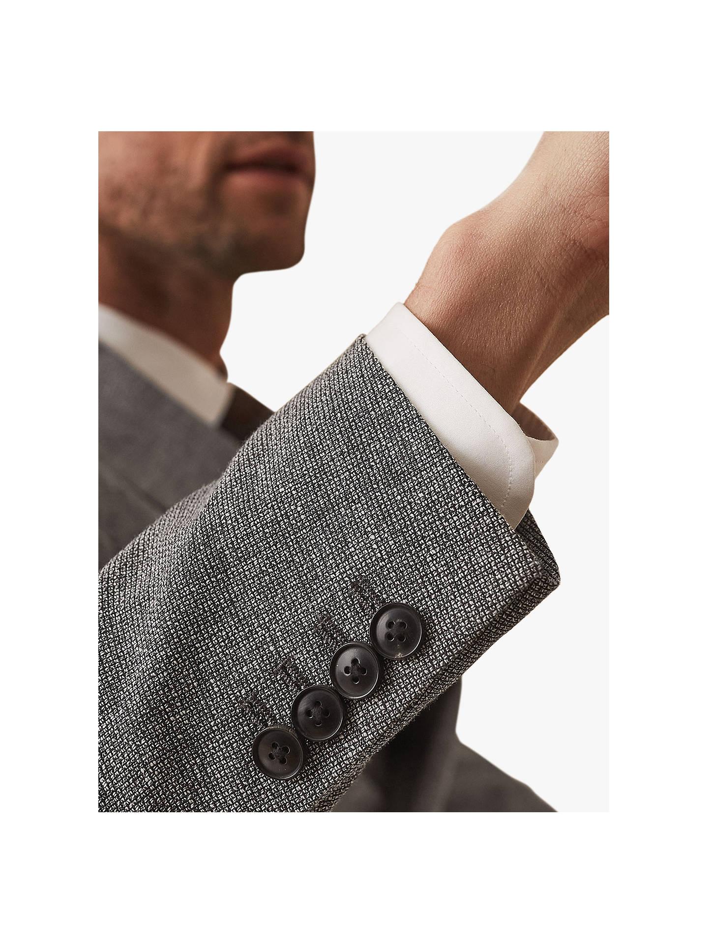 Reiss Wander Ruck Linen Blend Textured Suit Jacket, Grey at