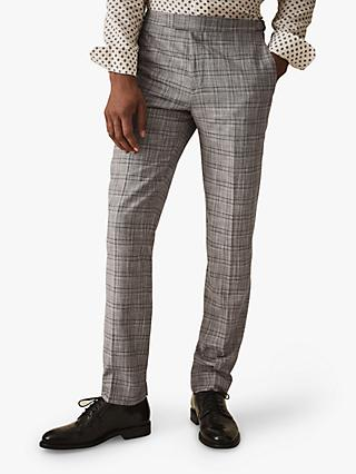 Reiss Ned Tailored Check Suit Trousers, Grey