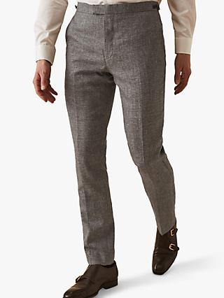 Reiss Wander Ruck Linen Blend Textured Suit Trousers, Grey