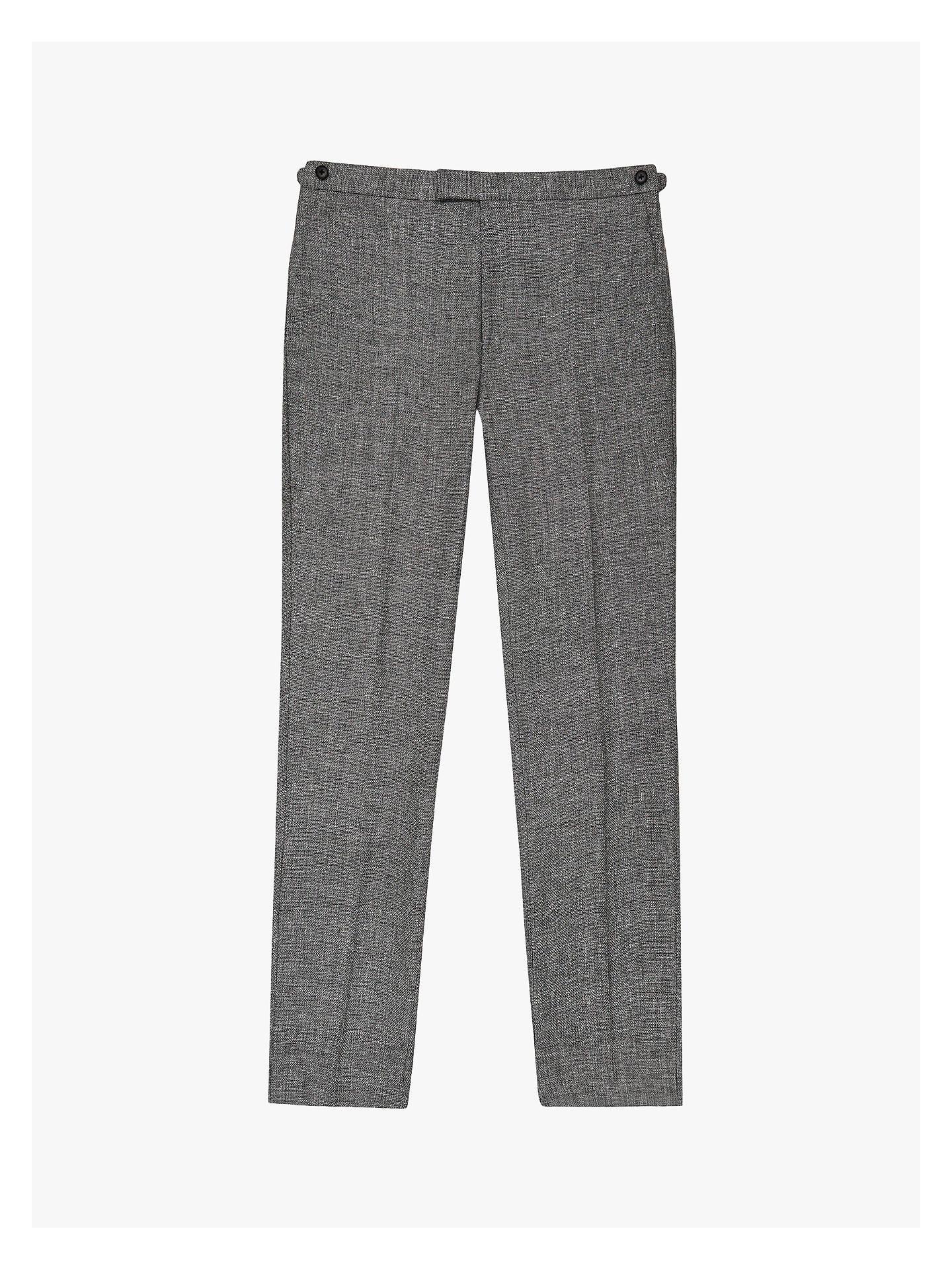 Reiss Wander Ruck Linen Blend Textured Suit Trousers, Grey