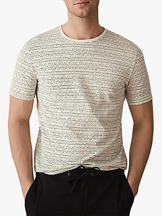 Reiss Islington Jacquard Stripe Crew Neck T-Shirt, Ecru
