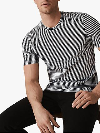Reiss Surbiton Stripe Crew Neck T-Shirt, Navy/White